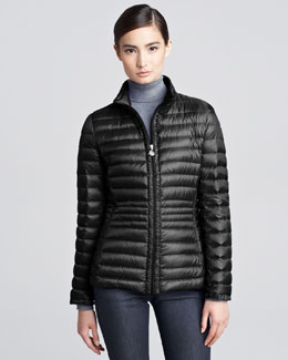 Moncler Contour-Quilted Hip-Length Puffer Jacket, Black