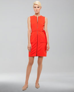 Akris punto Front-Zip Pocket Dress, Tomate