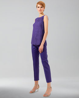 Akris punto Franca High-Waist Cropped Pants, Lavender