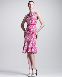 Giambattista Valli Dot-Print Shantung Dress