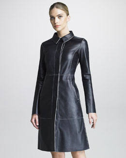 Armani Collezioni Contrast-Piped Leather Coat