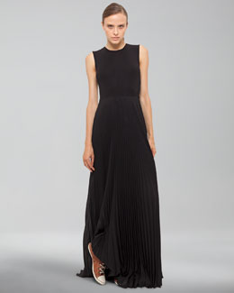 Akris Sleeveless Gown with Pleated Skirt