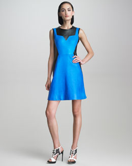 Jason Wu Sleeveless Leather Colorblock Dress