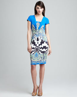 Etro Gathered-Front Cap-Sleeve Dress
