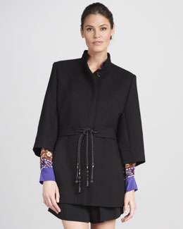 Chloe Three-Quarter-Sleeve Tie-Belt Coat