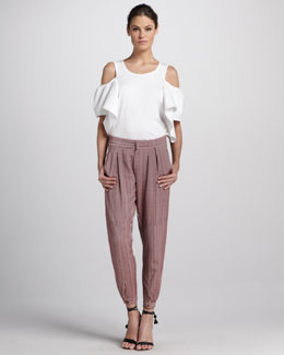 Chloe Pleated Pants with Ankle Snaps