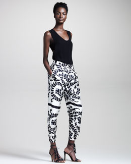 Chloe Autumn Flower-Print Silk Pants