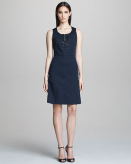 Derek Lam Sleeveless Dress with Lace-Up Neckline