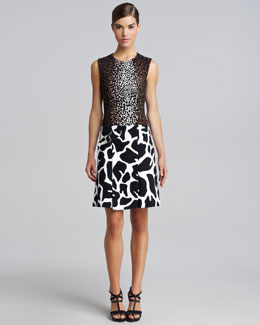 Derek Lam Mixed-Print Combo Dress