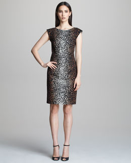 Derek Lam Cap-Sleeve Animal Print Dress