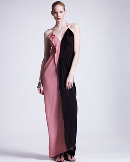 Lanvin Colorblock Silk Gown