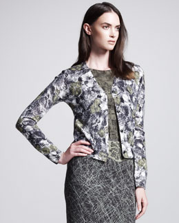 Bottega Veneta Rose-Print Cardigan, Green