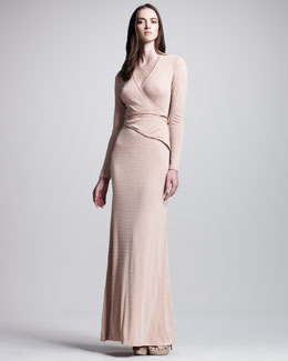 Bottega Veneta Beaded Long-Sleeve Gown, Poussin