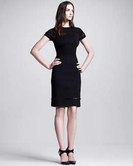 Bottega Veneta Open-Beaded Short-Sleeve Sheath Dress, Black