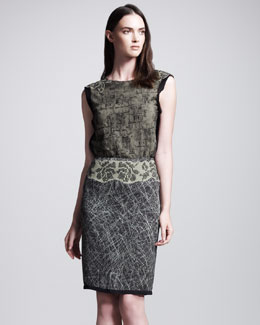 Bottega Veneta Graphic-Printed Studded Skirt