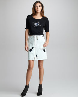 3.1 Phillip Lim Chain/Patchwork-Trim Denim Skirt