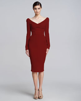 Zac Posen Satin-Panel Long-Sleeve V-Neck Dress