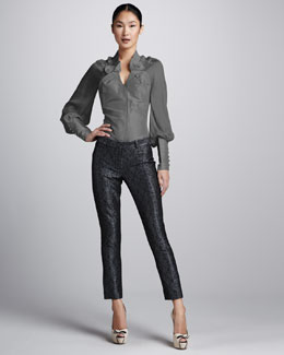 Zac Posen Metallic Brocade Skinny Pants