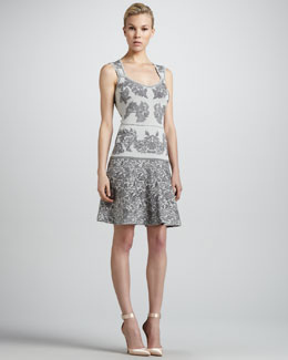 Zac Posen Bonded Jacquard Flounce Dress, Gray