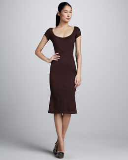 Zac Posen Bonded Jersey Dress with Flounced Hem