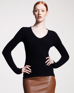 THE ROW V-Neck Cable Sweater