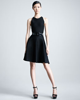 Ralph Lauren Collection Sleeveless Knit Flounce Dress, Black