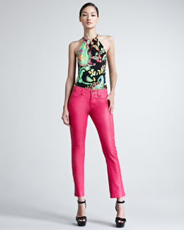 Ralph Lauren Black Label Cropped Lambskin Leather Jeans, Hot Pink