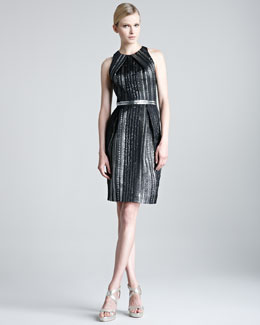 Lela Rose Braided Metallic Organza Dress