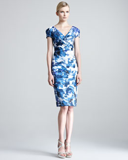 Lela Rose Brushstroke-Print Sheath Dress