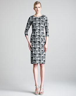 Lela Rose Jacquard Sheath Dress