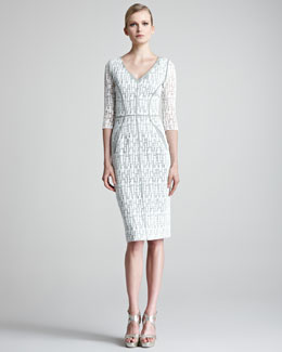 Lela Rose Jigsaw-Lace Dress