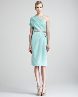 Lela Rose Draped One-Shoulder Dress