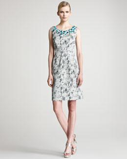 Lela Rose Embroidered Jacquard Sheath Dress