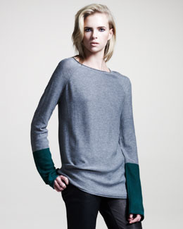 T by Alexander Wang Colorblock Long-Sleeve Pullover, Heather Gray