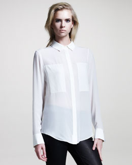 T by Alexander Wang Silk Combo Blouse, White