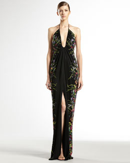 Gucci Tiger Flower-Print Jersey Gown