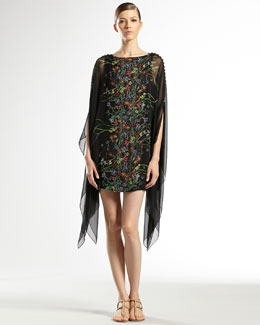 Gucci Flower Print Silk Georgette Caftan Dress