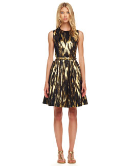 Michael Kors Ikat-Print A-Line Dress