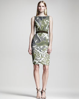 Giambattista Valli Leaf-Print Linen Dress