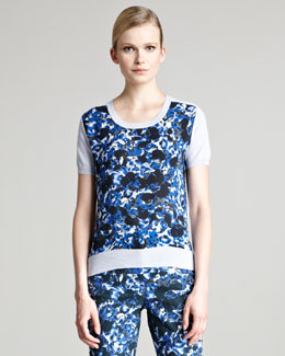 Erdem Arizona Floral-Print Short-Sleeve Sweater