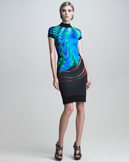 Roberto Cavalli Printed Mock-Neck Open-Back Dress