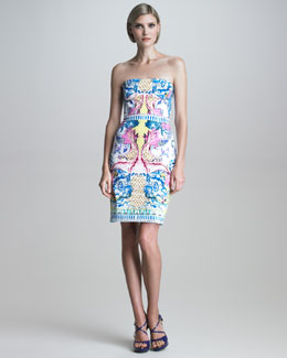 Roberto Cavalli Printed Strapless Dress