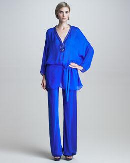 Roberto Cavalli Gathered-Cuff Silk Pants, Ultramarine