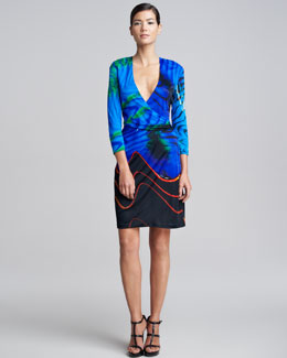 Roberto Cavalli Faux-Wrap Print Dress