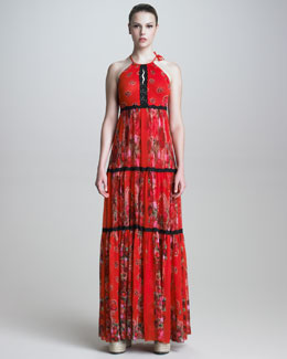 Jean Paul Gaultier Printed Halter Maxi Dress