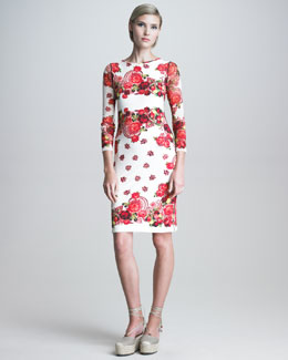 Jean Paul Gaultier Printed Three-Quarter-Sleeve Sheath Dress