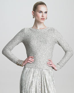 Oscar de la Renta Sequined Long-Sleeve Pullover