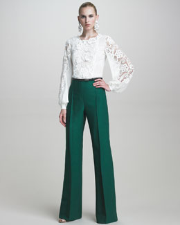 Oscar de la Renta Twill High-Waisted Pants