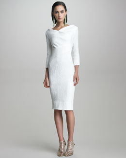 Oscar de la Renta Crimped Cotton Dress