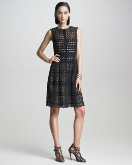 Oscar de la Renta Button-Front Lattice Dress